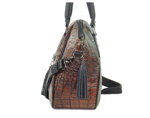 Croc Leather Satchel Handbag side view