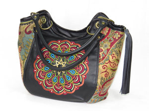 Cross Culture Mandala Leather and Paisley Tapestry Bucket Bag