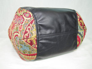 Cross Culture Mandala Leather and Paisley Tapestry Bucket Bag bottom view
