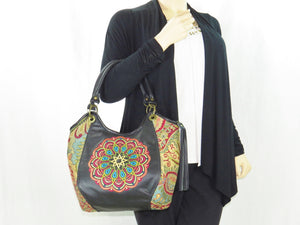 Cross Culture Mandala Leather and Paisley Tapestry Bucket Bag model view