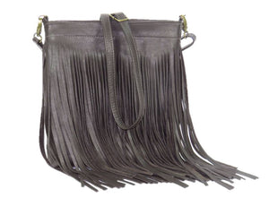 Dark Chocolate Brown Leather Cross Body Fringe Bag