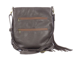 Dark Chocolate Brown Leather Cross Body Fringe Bag back view