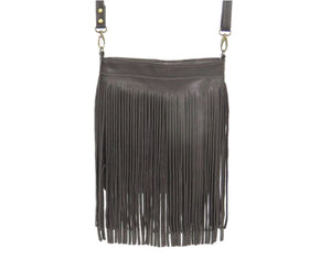Dark Chocolate Brown Leather Cross Body Fringe Bag hanging view