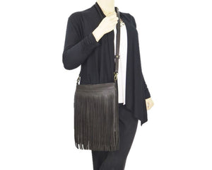 Dark Chocolate Brown Leather Cross Body Fringe Bag model view