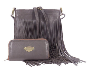 Dark Chocolate Brown Leather Cross Body Fringe Bag with companion wallet