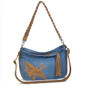 Denim and Leather Slouchy Hobo