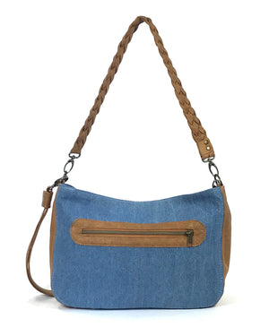 Denim and Leather Slouchy Hobo back view