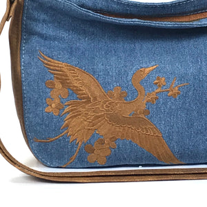 Denim and Leather Slouchy Hobo embroidered crane