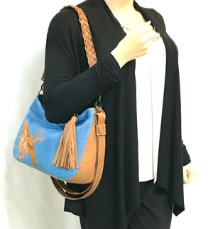 Denim and Leather Slouchy Hobo model view