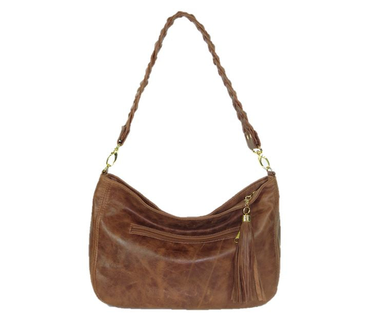 Distressed Brown Leather Hobo