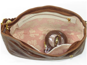 Distressed Brown Leather Hobo interior zipper pocket