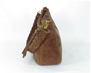 Distressed Brown Leather Hobo side view