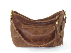 Distressed Brown Leather Hobo slouchy view