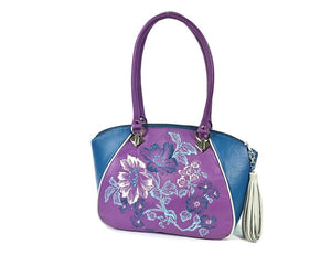 Embroidered Orchid and Bllue Leather Satchel