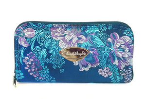 Embroidered Orchid and Blue Leather Satchel companion wallet