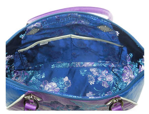 Embroidered Orchid and Blue Leather Satchel interior pockets