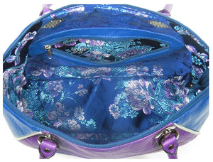 Embroidered Orchid and Blue Leather Satchel interior zipper pocket