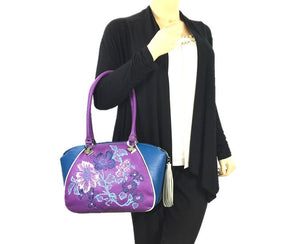 Embroidered Orchid and Blue Leather Satchel model view