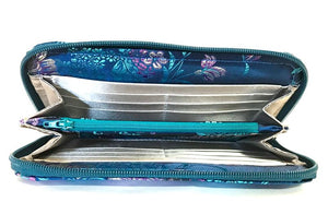 Embroidered Orchid and Blue Leather Satchel wallet interior