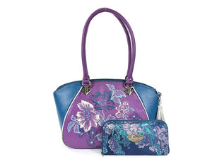 Embroidered Orchid and Blue Leather Satchel with wallet