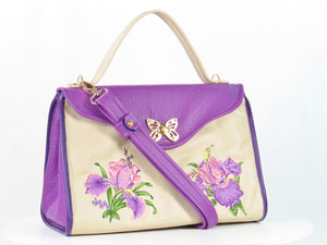 Embroidered Irises Purple and Beige Leather Purse