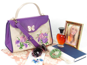 Embroidered Irises  Purple and Beige Leather Purse Vignette