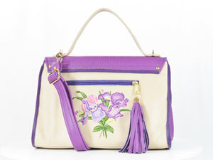 Embroidered Irises  Purple and Beige Leather Purse back side