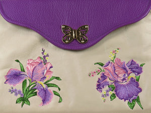 Embroidered Irises  Purple and Beige Leather Purse close-up