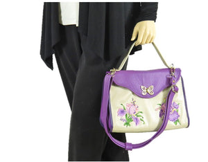 Embroidered Irises  Purple and Beige Leather Purse model view