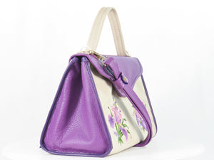 Embroidered Irises  Purple and Beige Leather Purse side view