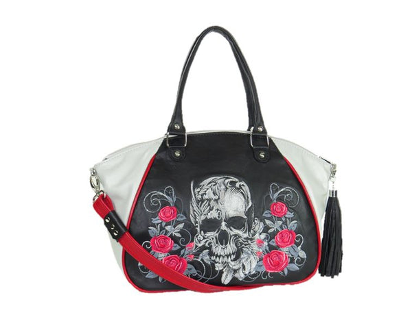 Embroidered Leather Skull and Roses Satchel