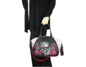 Embroidered Leather Skull and Roses Satchel hand model