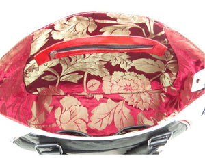 Embroidered Leather Skull and Roses Satchel lining