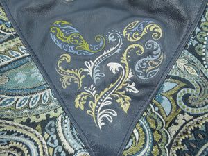 Embroidered Navy Blue Leather and Paisley Tapestry Bucket Bag embroidery close-up