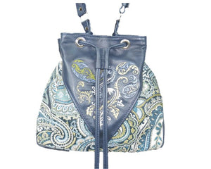 Embroidered Navy Blue Leather and Paisley Tapestry Bucket Bag shape