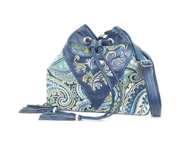 Embroidered Navy Blue Leather and Paisley Tapestry Bucket Bag view one