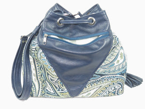 Embroidered Navy Blue Leather and Paisley Tapestry Bucket Bag zipper side