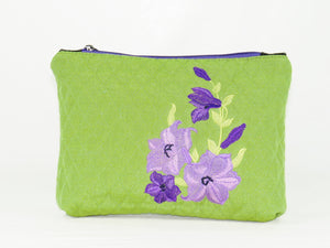 Embroidered Purple Flowers on Green Zipper Pouch