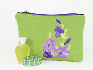 Embroidered Purple Flowers on Green Zipper Pouch vignette