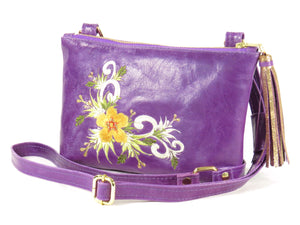 Embroidered Purple Leather Cross Body Bag