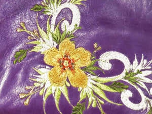 Embroidered Purple Leather Cross Body Bag embroidery close-up