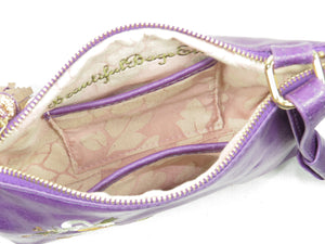 Embroidered Purple Leather Cross Body Bag interior