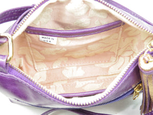 Embroidered Purple Leather Cross Body Bag lining