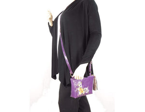 Embroidered Purple Leather Cross Body Bag model 1