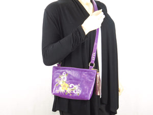 Embroidered Purple Leather Cross Body Bag model 2