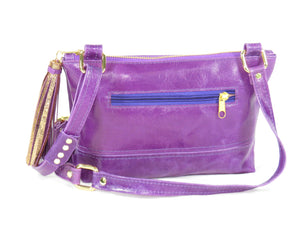Embroidered Purple Leather Cross Body Bag reverse side