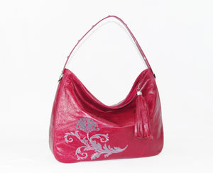 Embroidered Red Leather Slouchy Hobo