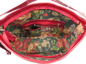 Embroidered Red Leather Slouchy Hobo interior view