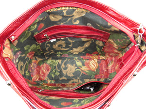 Embroidered Red Leather Slouchy Hobo made in USA
