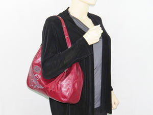 Embroidered Red Leather Slouchy Hobo modeled